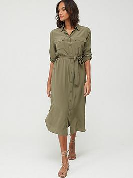 Boss Boss Casual Callura Silk Shirt Dress - Khaki Picture