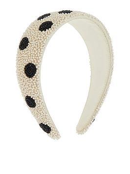 Accessorize Accessorize White Bead And Black Dot Headband - White Picture
