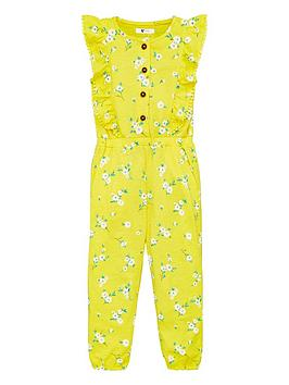 V by Very V By Very Girls Floral Frill Detail Jersey Jumpsuit - Yellow Picture