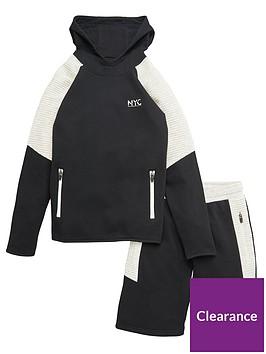 v-by-very-boys-ottoman-trim-hoodie-and-short-set-black-grey