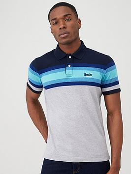 Superdry Superdry Malibu Stripe Polo Shirt - Navy Picture