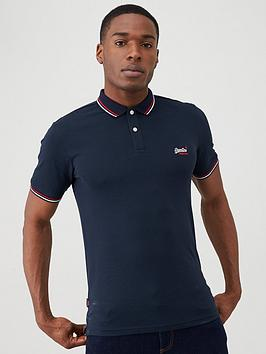 Superdry Superdry Classic Micro Lite Tipped Polo Shirt - Navy Picture