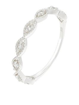 Accessorize Accessorize St Sparkle Weave Band Ring - Crystal Picture