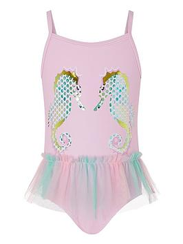 Monsoon Monsoon Baby Girls Blaire Seahorse Swimsuit - Pale Pink Picture
