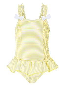 Monsoon Monsoon Baby Girls Bow Seersucker Swimsuit - Yellow Picture