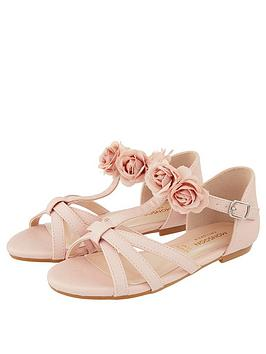 Monsoon Monsoon Girls Ariah Pink Corsage Sandal - Pale Pink Picture