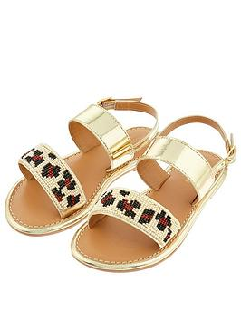 Monsoon Monsoon Girls Zadie Beaded Animal Sandal - Gold Picture