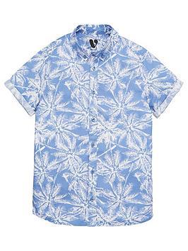 V by Very V By Very Boys Palm Print Short Sleeve Shirt - Blue Picture
