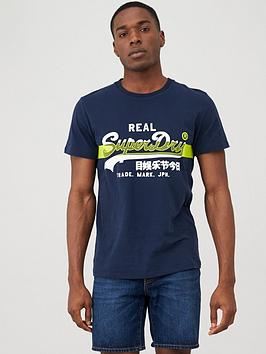 Superdry Superdry Vintage Label Cross Hatch T-Shirt - Navy Picture
