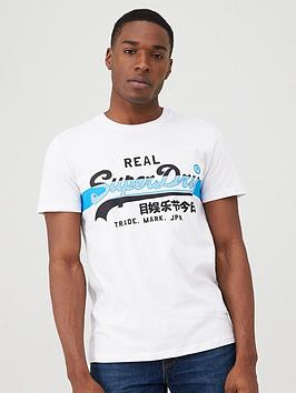 Superdry Superdry Vintage Logo Cross Hatch T-Shirt - White Picture