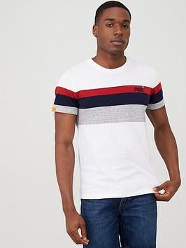 Superdry Superdry Orange Label Classic Stripe T-Shirt - White Picture