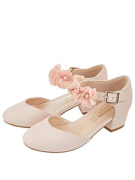 Monsoon Monsoon Macaroon Pink Corsage Two Part Shoe - Pale Pink Picture
