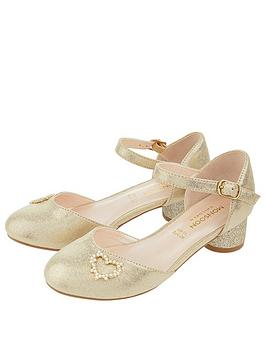 Monsoon Monsoon Hallie Gold Heart Charm Two Part Shoes - Gold Picture