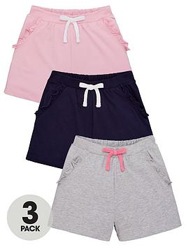 V By Very Girls 3 Pack Ruffle Pocket Shorts