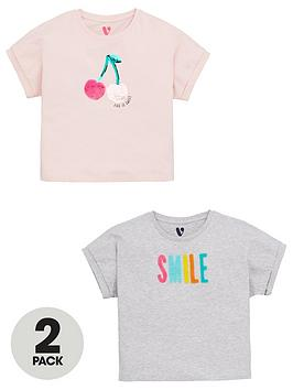 V by Very V By Very Girls 2 Pack Applique Short Sleeve T-Shirts - Multi Picture