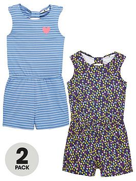 V by Very V By Very Girls 2 Pack Twist Back Jersey Playsuits - Multi Picture