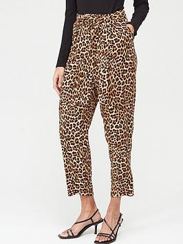 V by Very V By Very Tie Waist Pleat Front Trousers - Leopard Picture