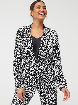 V by Very V By Very Tie Waist Soft Tailored Jacket - Animal Print Picture