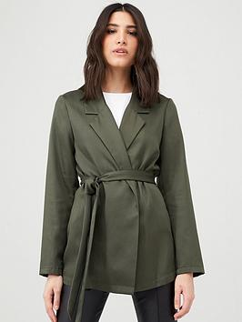 V by Very V By Very Tie Waist Soft Tailored Jacket - Khaki Picture