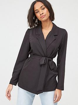 V by Very V By Very Tie Waist Soft Tailored Jacket - Black Picture