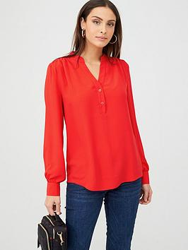 V by Very V By Very Long Sleeve Notch Neck Blouse - Red Picture