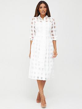 V by Very V By Very Check Midi Dress - White Picture