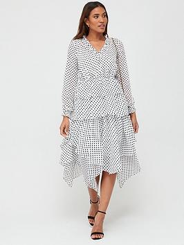 V by Very V By Very Polka Dot Tiered Midaxi Dress - White Spot Picture