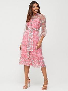 V by Very V By Very Organza Midi Dress - Floral Picture