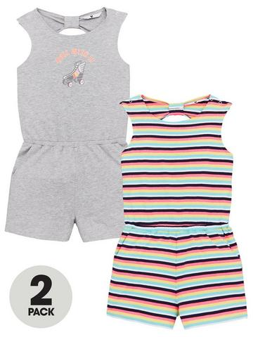 YOUNGER STAR Toddler Kid Girls Romper Casual Sleeveless Overalls Pants with Pocket Outfits Black Gray Jumpsuit 6M-4T