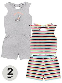 V by Very V By Very Girls Knot Back Playsuits (2 Pack) - Multi Picture