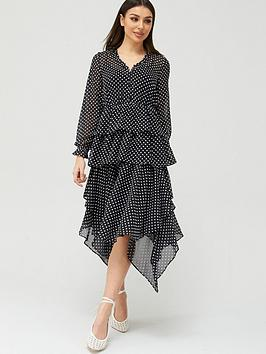 V by Very V By Very Polka Dot Tiered Midaxi Dress - Black Spot Picture