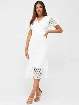 V by Very V By Very Fluted Hem Lace Midi Dress - White Picture