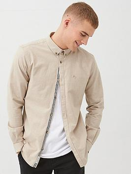River Island River Island Long Sleeve Slim Fit Oxford Shirt - Stone Picture