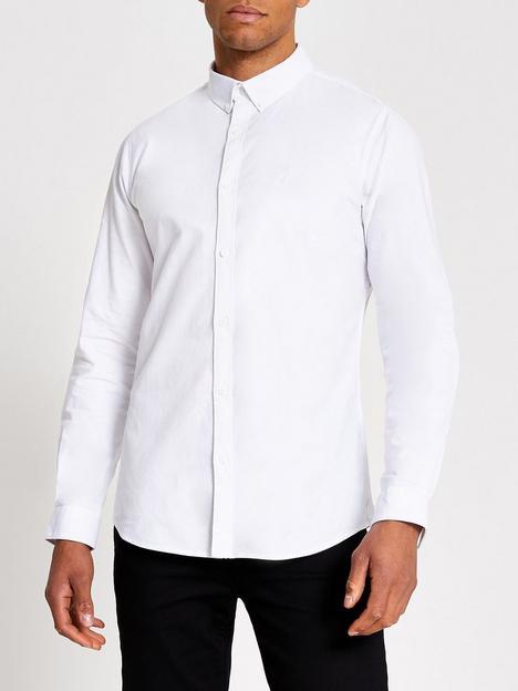 river-island-maison-riviera-long-sleevenbspslim-fit-oxford-shirt-white