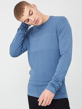 River Island River Island Long Sleeve Slim Fit Knitted Top - Light Blue Picture
