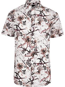 River Island River Island Big And Tall Floral Short Sleeve Shirt - Ecru Picture