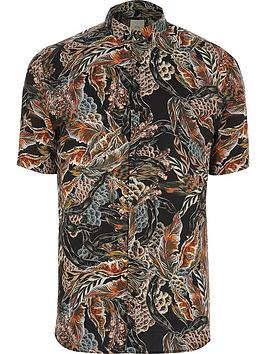River Island River Island Big &Amp; Tall Feather Print Short Sleeve Shirt  ... Picture