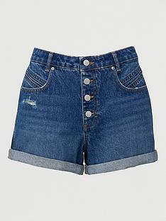 v-by-very-button-front-mom-shorts-mid-wash