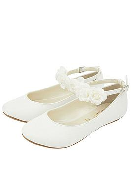 Monsoon Monsoon Girls Amy Corsage Ankle Strap Ballerina - Ivory Picture