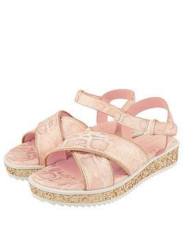 Monsoon Monsoon Girls Snake Shimmer Glitter Flatform Sandal - Pale Pink Picture