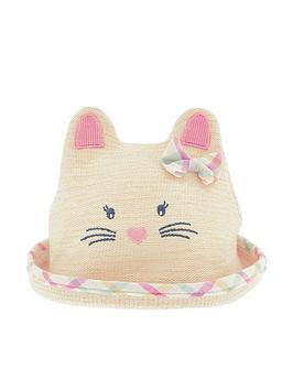 Monsoon Baby Girls Organic Mollie Moo Bunny Bowler Hat - Natural