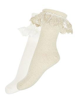monsoon-girls-2-pack-lace-socks-gold