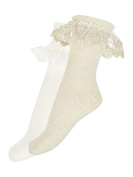 Monsoon Monsoon Girls 2 Pack Lace Socks - Gold Picture