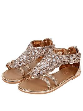 Monsoon Monsoon Girls Valencia Beaded Scallop Sandal - Rose Gold Picture
