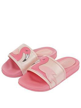 Monsoon Monsoon Girls Floella Flamingo Slider - Pale Pink Picture