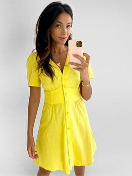 Michelle Keegan Michelle Keegan Angel Sleeve Linen Mini Dress - Yellow Picture