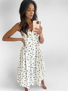michelle-keegan-button-front-linen-midi-dress-floral