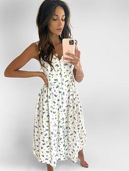 michelle-keegan-button-front-linen-midi-dress-floral