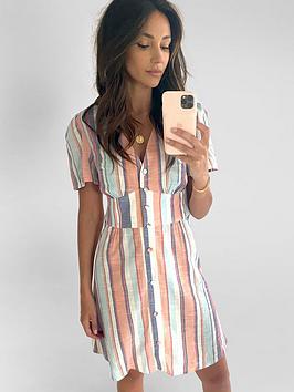 Michelle Keegan Michelle Keegan Angel Sleeve Linen Mini Dress Picture