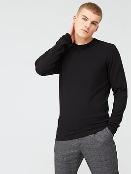 River Island River Island Long Sleeve Slim Fit Knitted Top - Black Picture